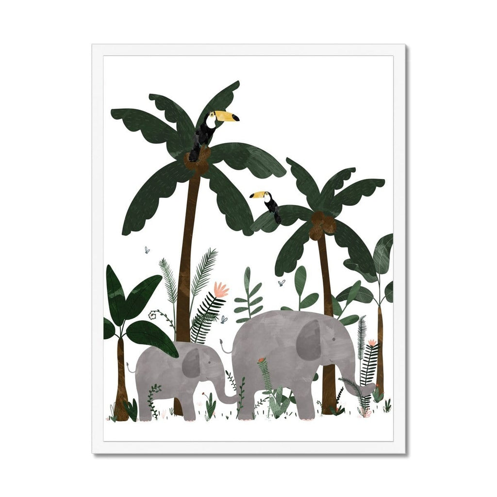 White - Elephants in the Jungle Print |  Framed Print