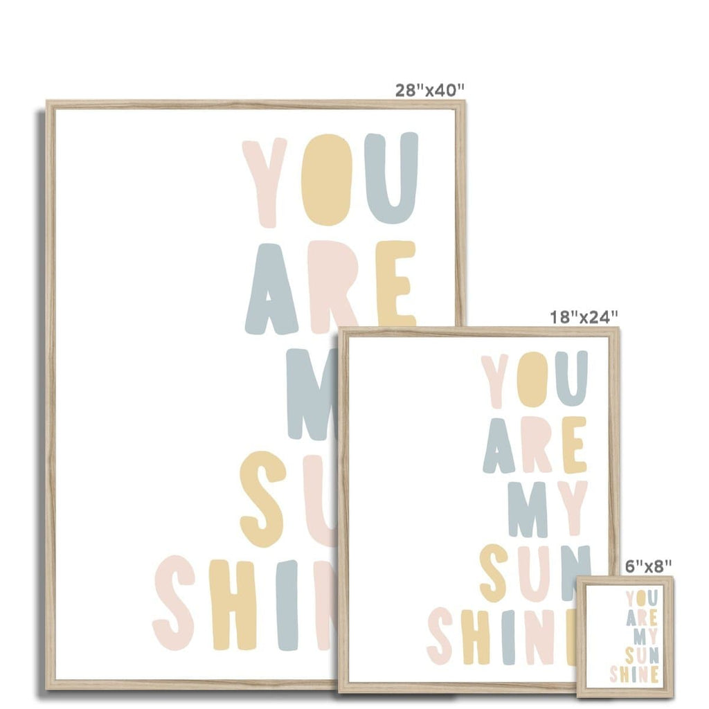 You Are My Sunshine - Pink, Blue & Yellow |  Framed Print