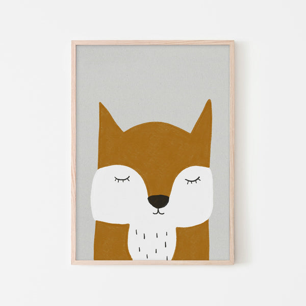 Sleepy Fox - Orange |  Framed Print