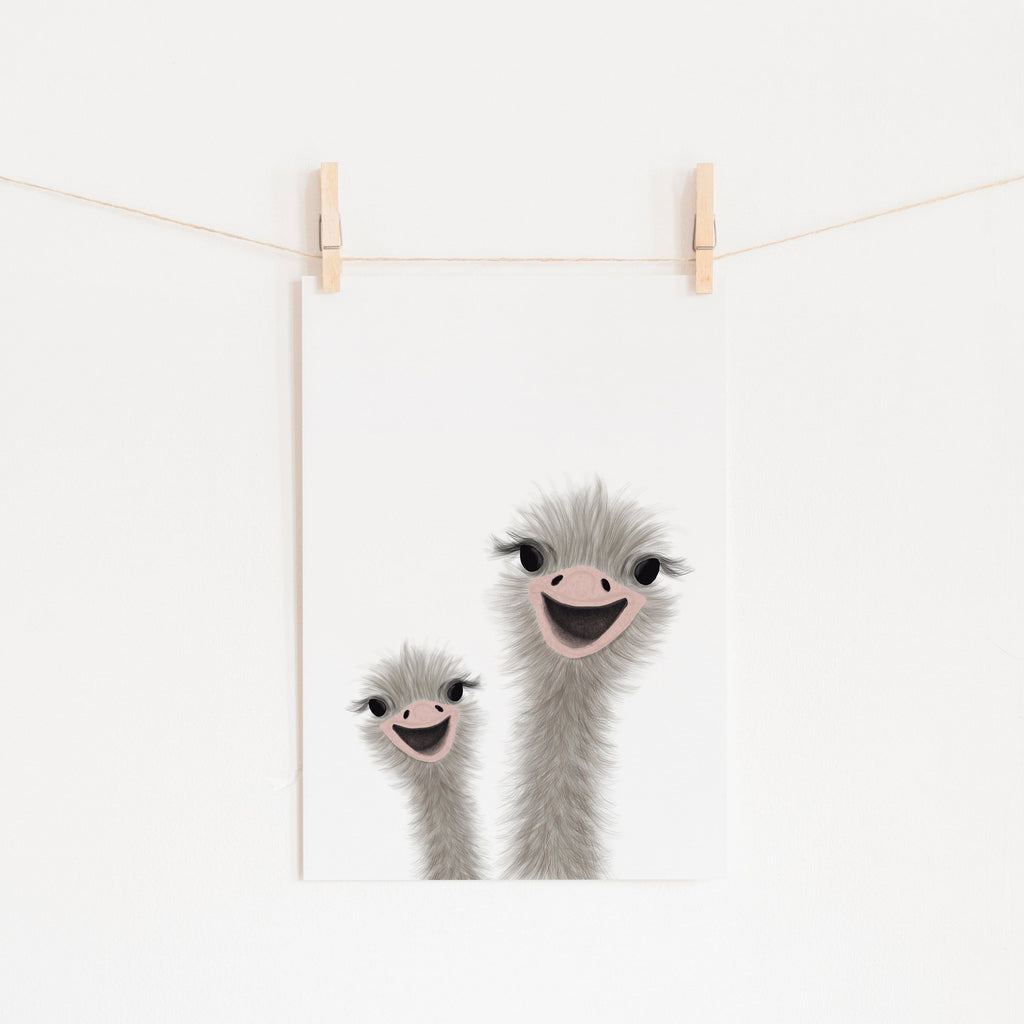 Ostrich - Children's Animal Art |  Unframed