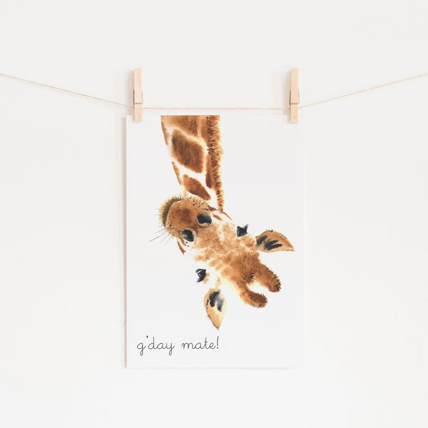G'Day Mate Giraffe |  Unframed