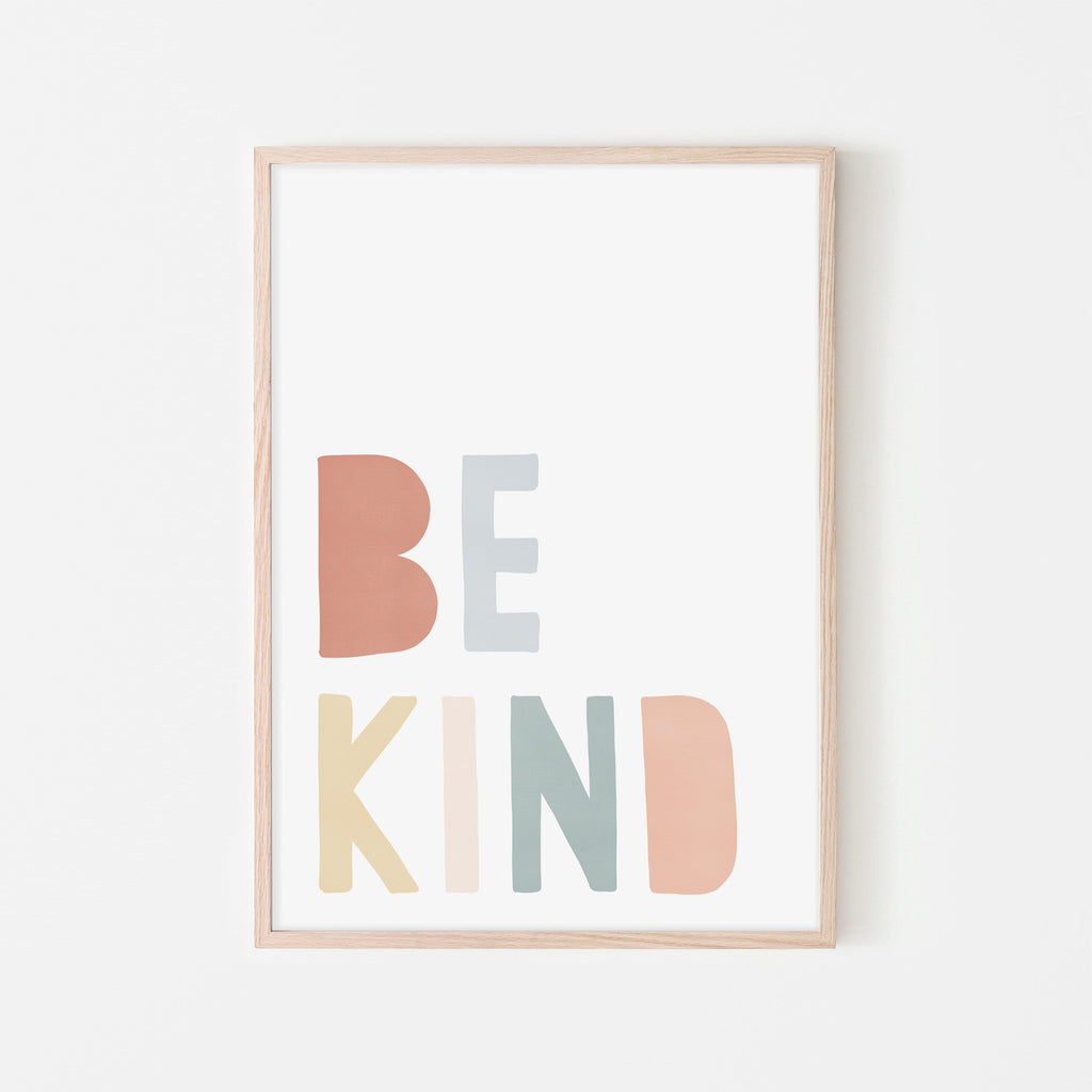 Be Kind Print - Subtle Rainbow |  Framed Print