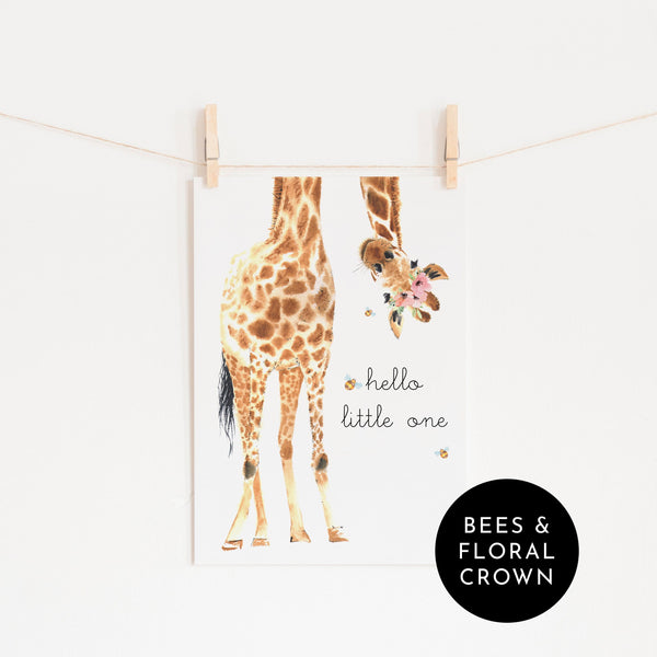 Hello Little One Giraffe - Flowers & Bees |  Unframed