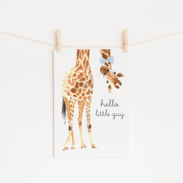 Hello Little Guy Giraffe - Blue Bow Tie |  Unframed