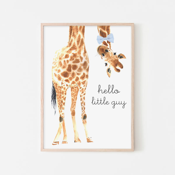 Hello Little Guy Giraffe - Blue Bow Tie |  Framed Print