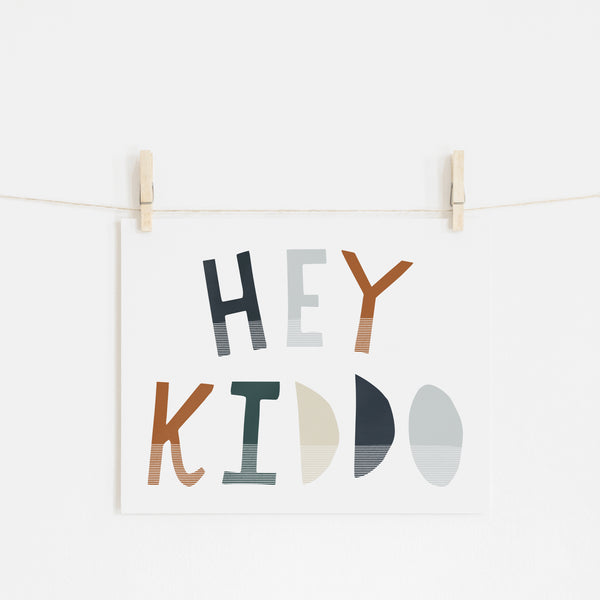 Hey Kiddo - Navy & Brown (Landscape) |  Unframed