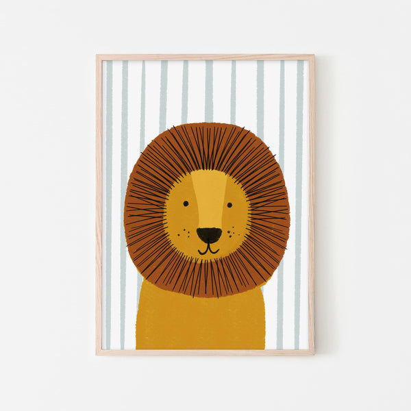 Lion - Blue Stripe |  Framed Print