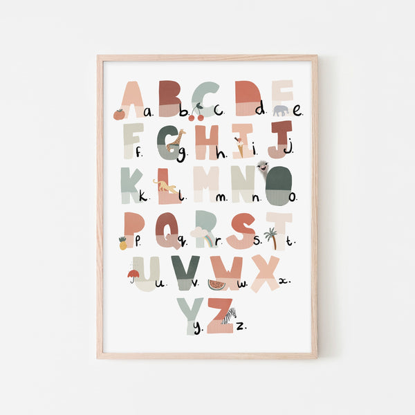 Alphabet Chart - Tutti-Frutti, Illustrated |  Framed Print