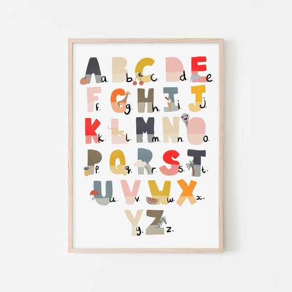 Alphabet Chart - Muted Rainbow, Illustrated |  Framed Print