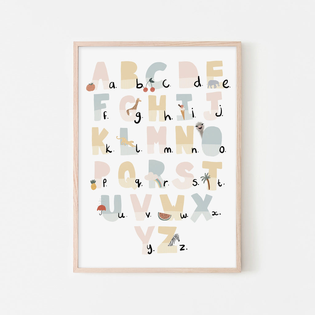 Alphabet Chart - Pink Pastel, Illustrated |  Framed Print