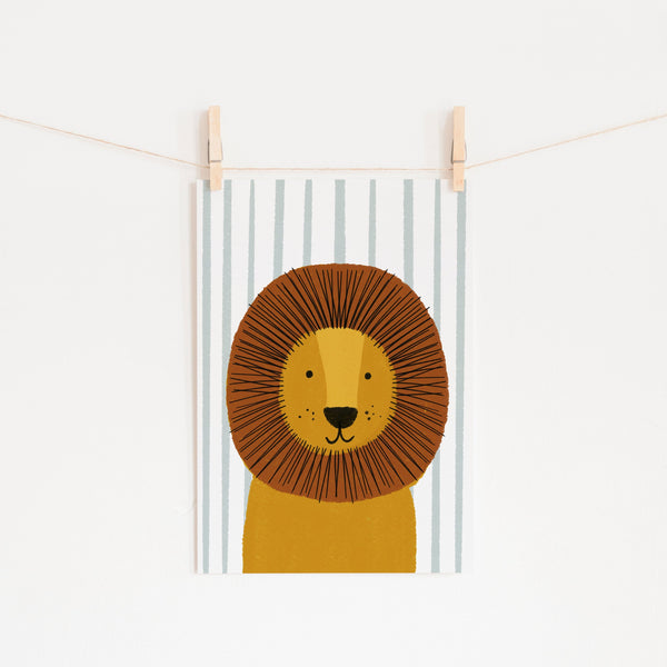 Lion - Blue Stripe | Unframed