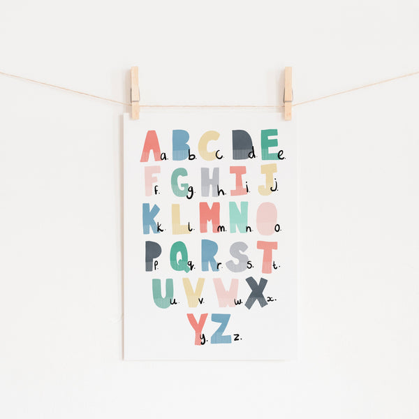 Alphabet Chart - Rainbow Colours |  Unframed
