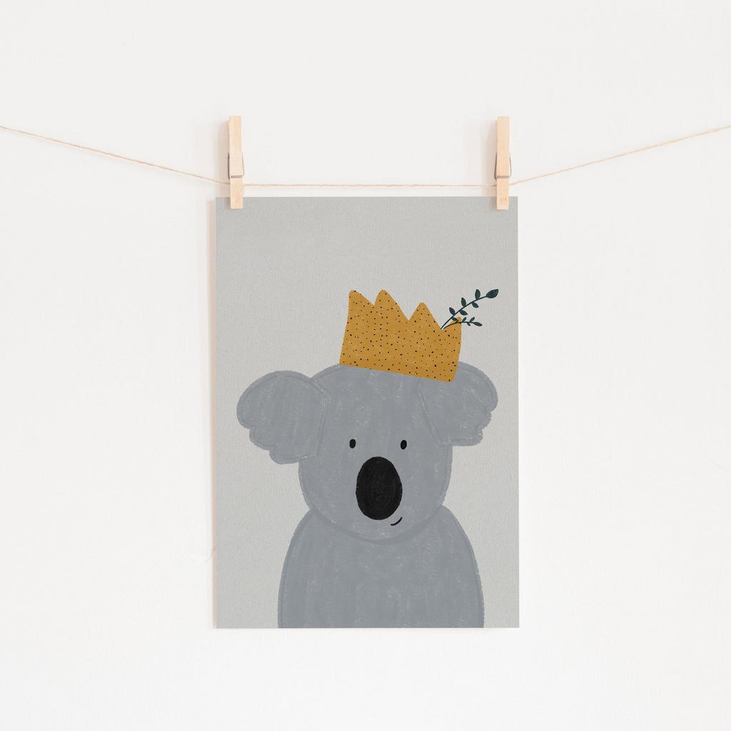 King Koala - Kids Animal Art |  Unframed