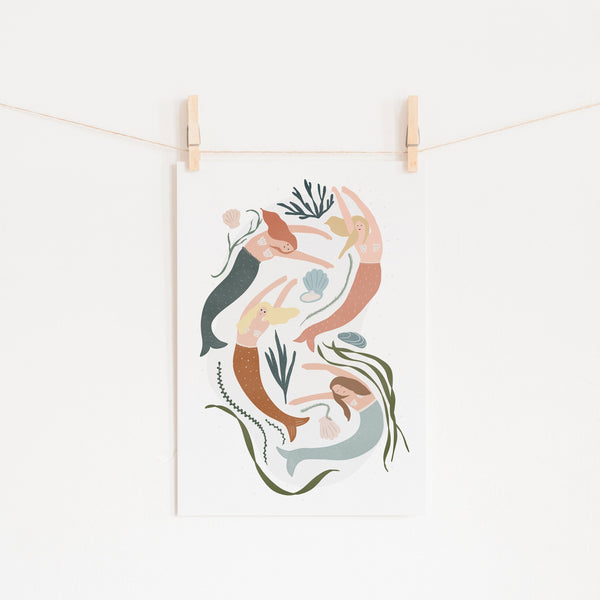 Mermaids - Girls Bedroom Decor |  Unframed