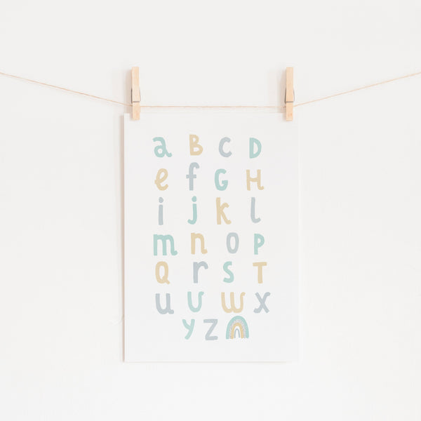 Alphabet Chart - Mint, Blue & Yellow |  Unframed