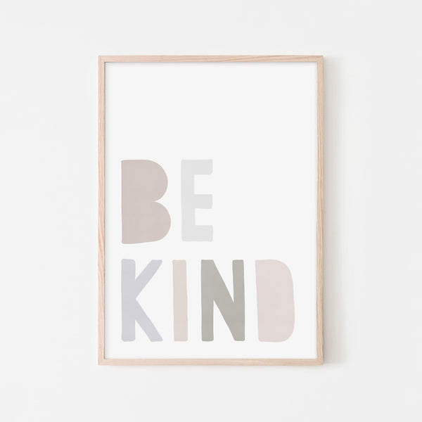 Be Kind Print - Natural |  Framed Print