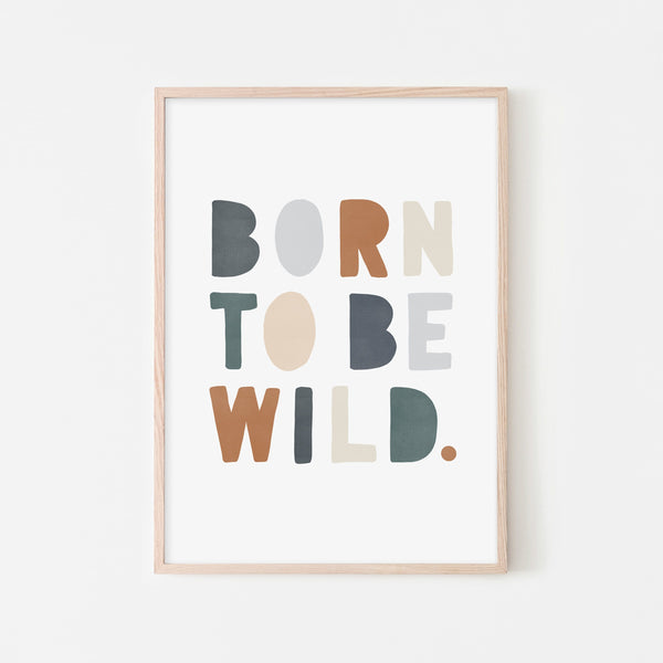 Born To Be Wild Print - Navy & Brown |  Framed Print
