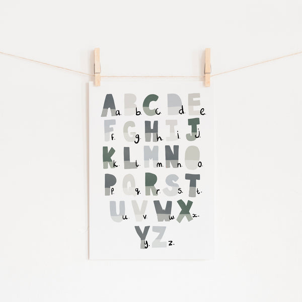 Alphabet Chart - Blue & Green |  Unframed