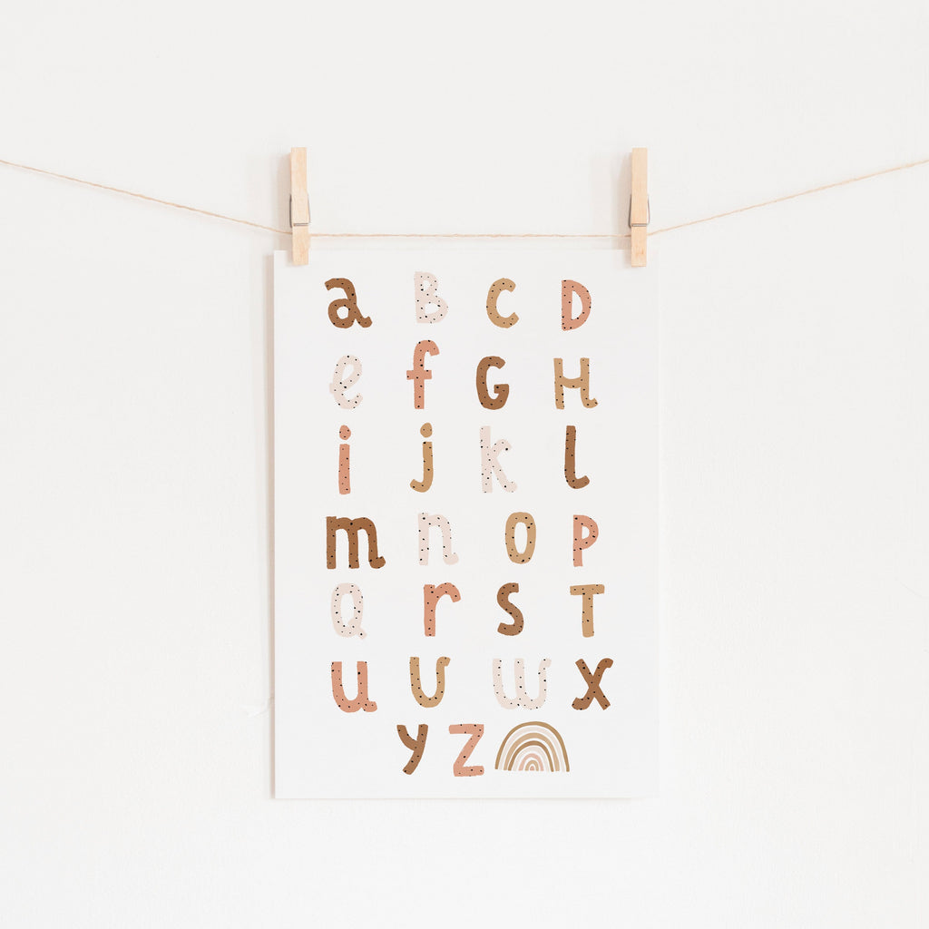 Alphabet Chart - Burnt Umber |  Unframed