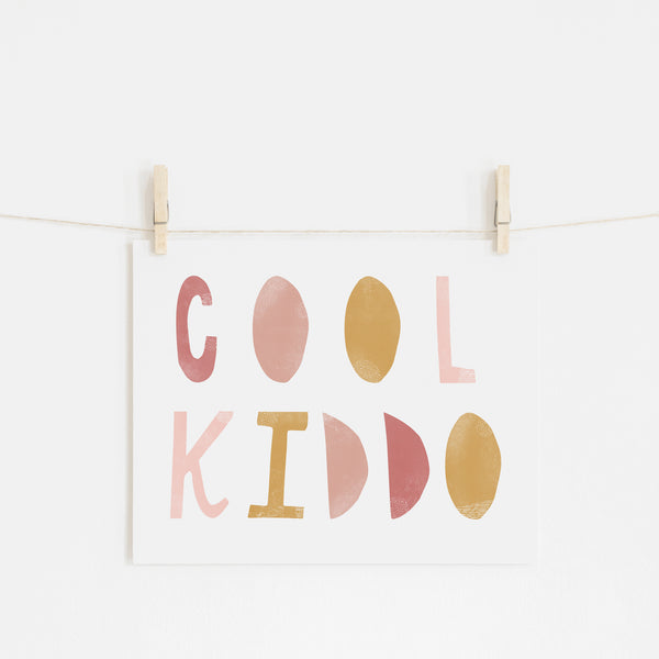 Cool Kiddo - Pink & Mustard |  Unframed