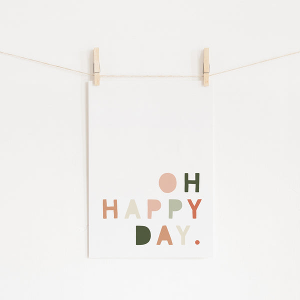 Oh Happy Day - Blush Pink & Green |  Unframed