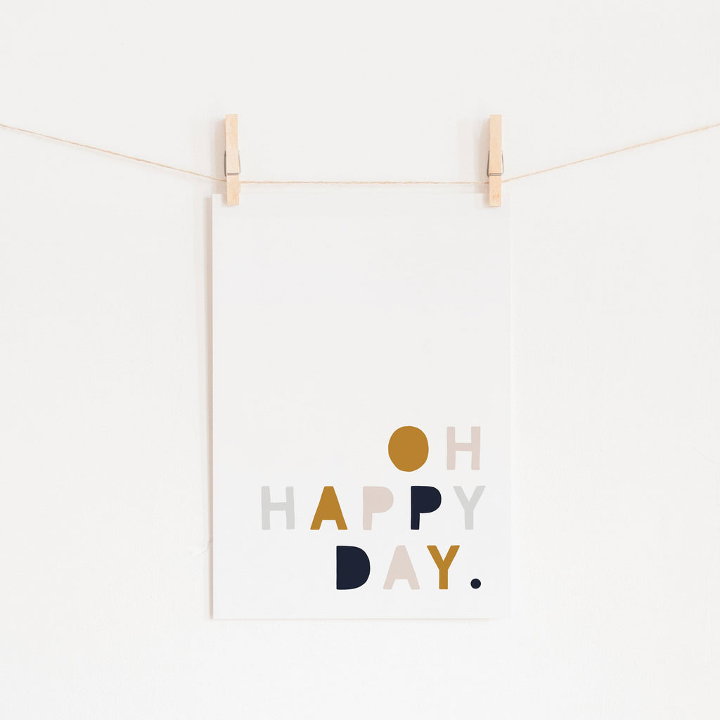 Oh Happy Day - Mustard, Pink & Navy |  Unframed