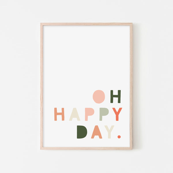Oh Happy Day - Blush Pink & Green |  Framed Print