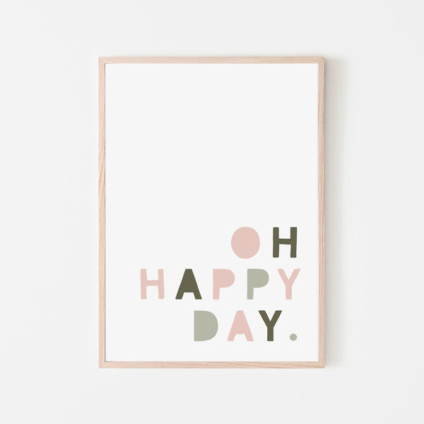 Oh Happy Day - Pink & Sage Green |  Framed Print