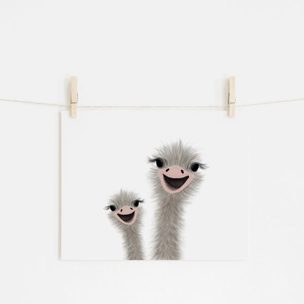 Ostrich - Funny Animal Art (landscape) |  Unframed