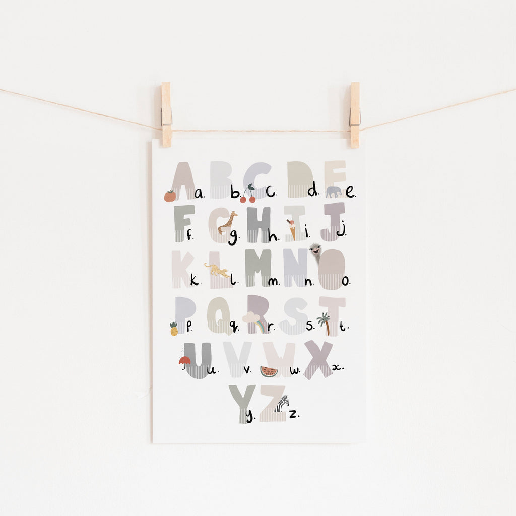 Alphabet Chart - Illustrated Natural |  Unframed