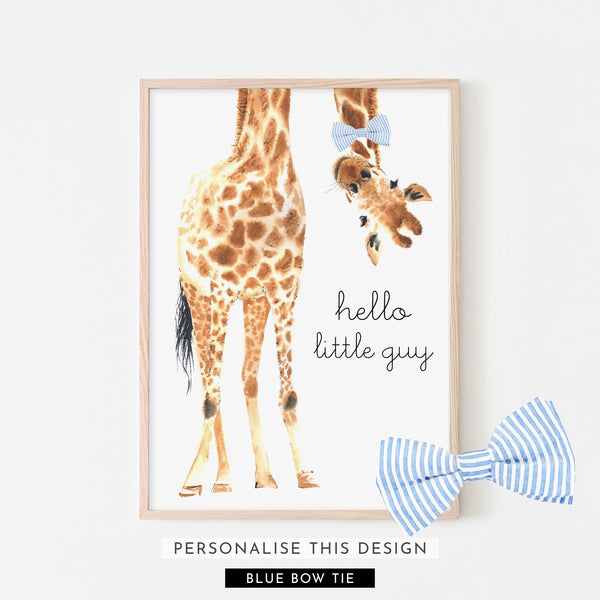 Hello Little Guy Giraffe | Framed (Personalised)