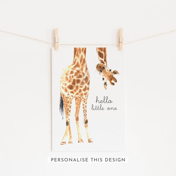 Hello Little One Giraffe | Unframed (Personalised)
