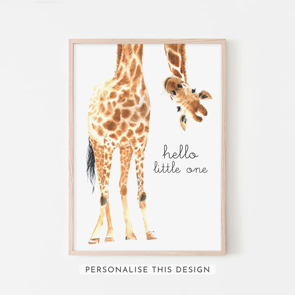 Hello Little One Giraffe | Framed (Personalised)
