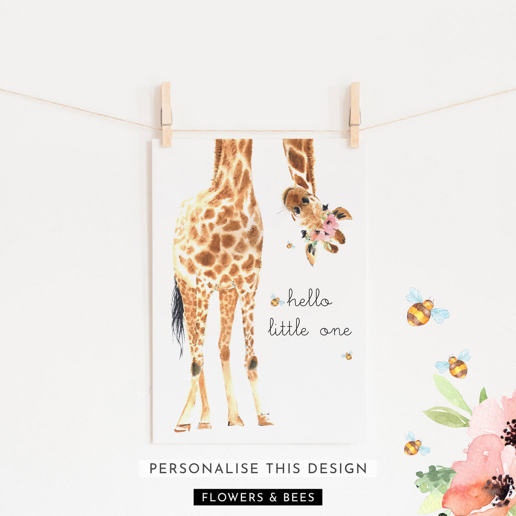 Hello Little One Giraffe Bees & Flower Crown | Unframed (Personalised)