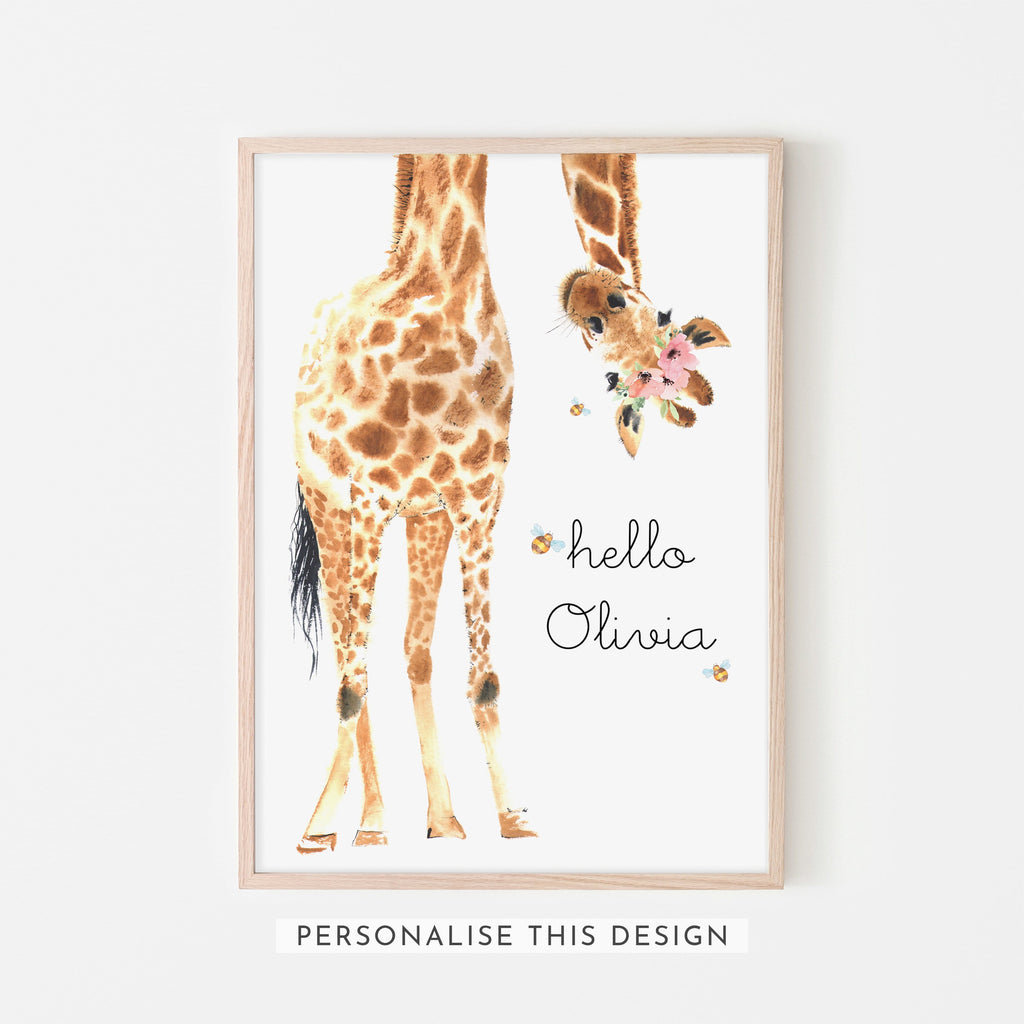 Hello Little One Giraffe Bees & Flower Crown | Framed (Personalised)