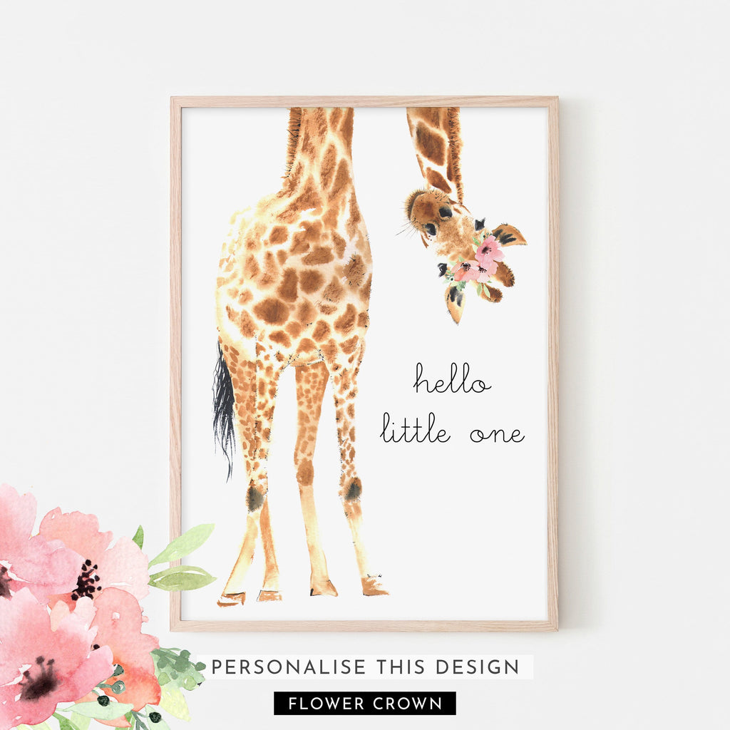 Hello Little One Giraffe Flower Crown | Framed (Personalised)