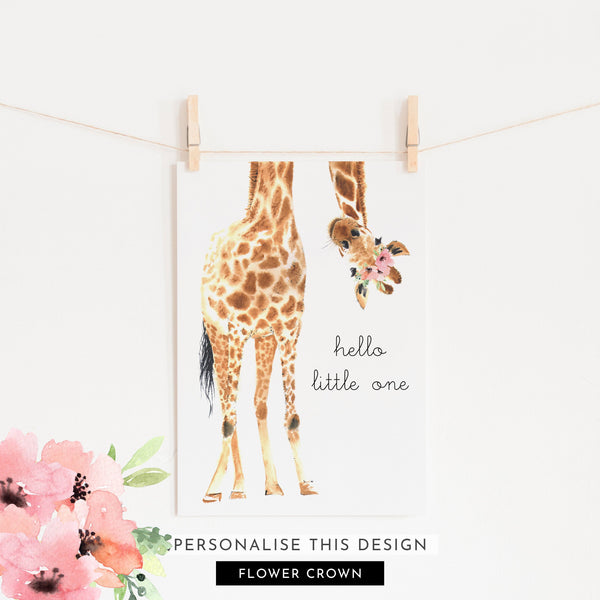 Hello Little One Giraffe Flower Crown | Unframed (Personalised)