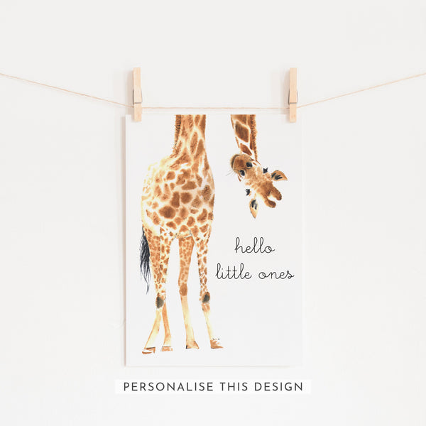 Hello Little One Giraffe Twins | Unframed (Personalised)