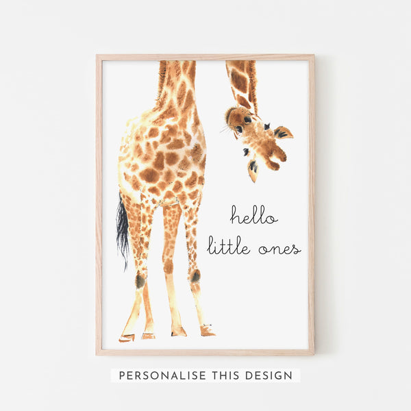 Hello Little One Giraffe Twins | Framed (Personalised)