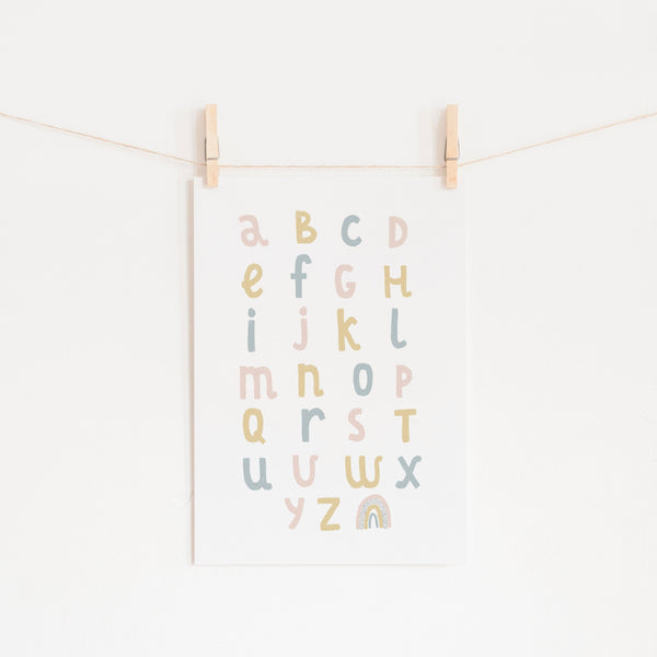 Alphabet Chart - Pink, Yellow & Blue |  Unframed