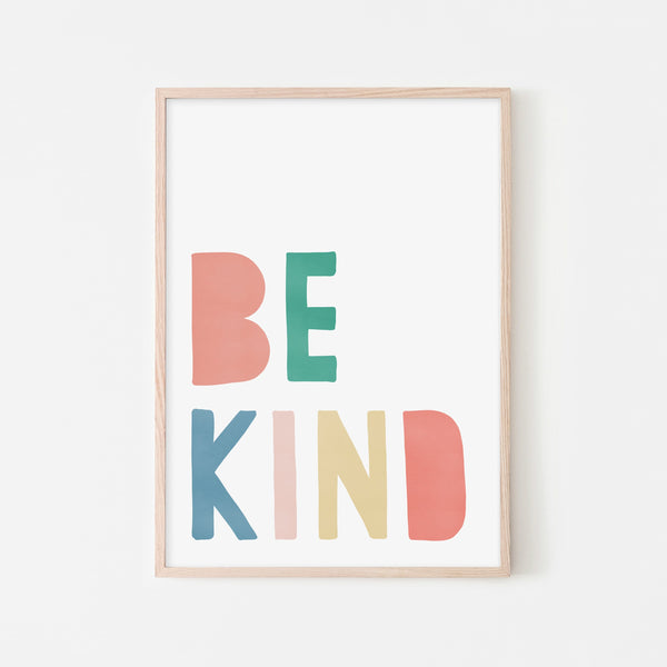 Be Kind Print - Rainbow |  Framed Print