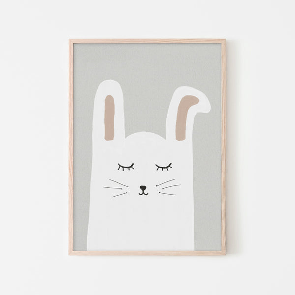 Sleepy Bunny Rabbit |  Framed Print