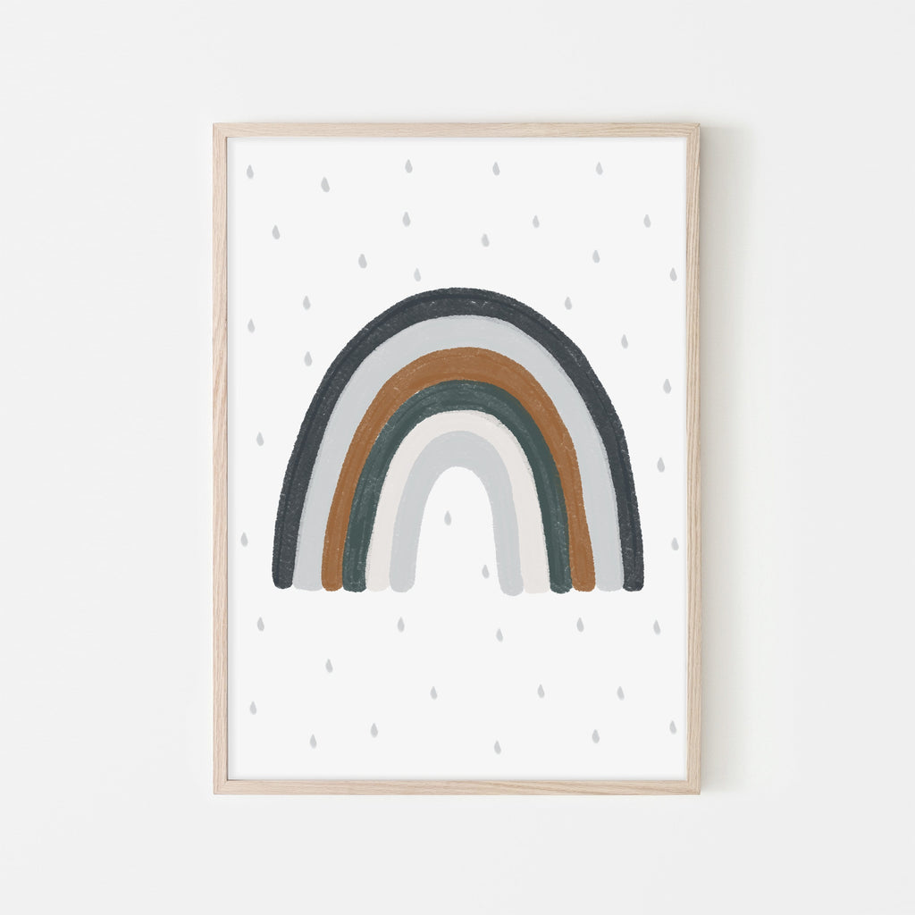 Rainbow Wall Art - Navy Blue, Green, Brown |  Framed Print