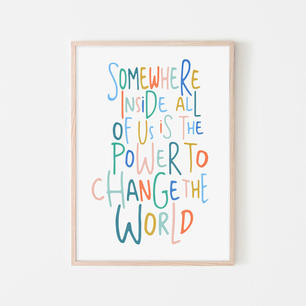 Somewhere Inside All of Us Quote - Brights |  Framed Print