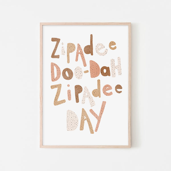 Zipadee Doo Dah - Neutral Burnt Umber |  Framed Print