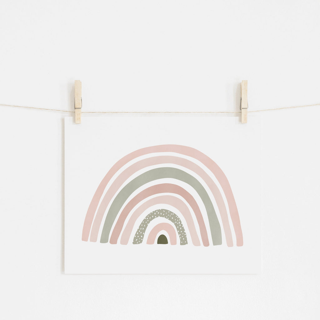 Scandi Rainbow - Pink & Sage Green |  Unframed