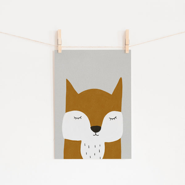 Sleepy Fox - Orange |  Unframed