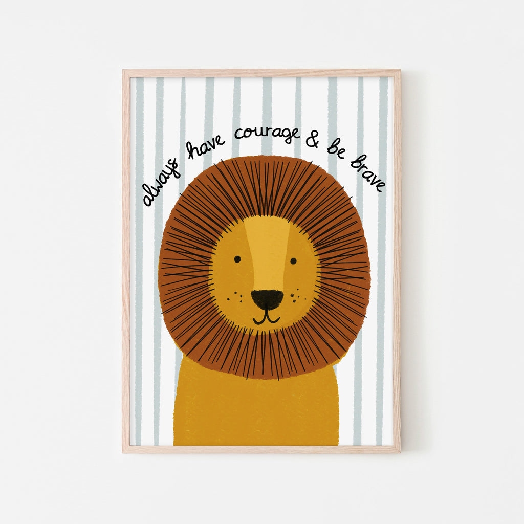 Lion - Courage & Brave Quote (striped) |  Framed Print