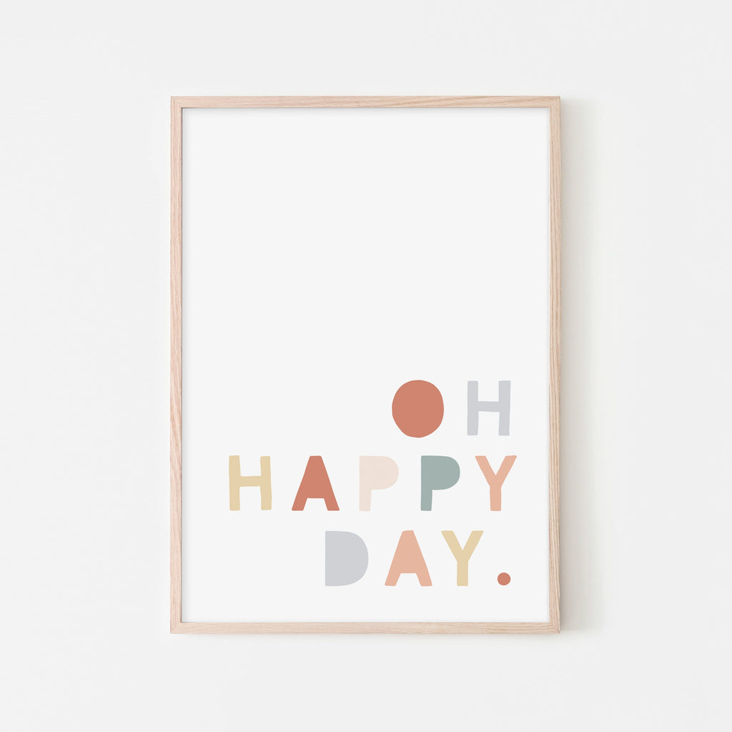 Oh Happy Day - Subtle Rainbow Colours |  Framed Print