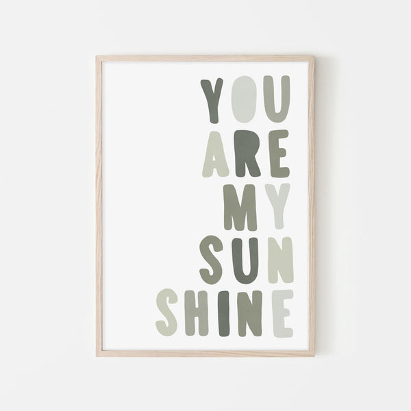 You Are My Sunshine - Jungle Greens |  Framed Print
